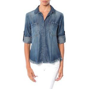 Cloth & Stone Chambray Frayed Hem Split Back Shirt